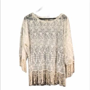 Dylan Womens Semi Sheer Embroidery Lace Fringe Top